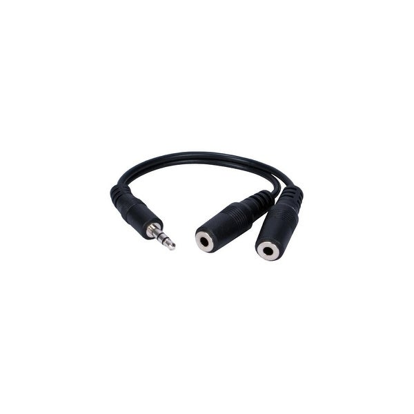QVS CC400Y QVS 3.5mm Mini-Stereo Male to Two Female Speaker Splitter Cable - BNC/3.5mm for iPad, iPhone, iPod, Headset, Speaker,