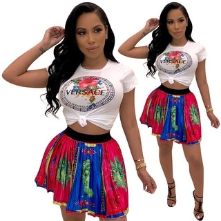 Link to Printed T-Shirt Short Skirt Two-Piece Suit - red and blue Similar Items in Suits & Suit Separates