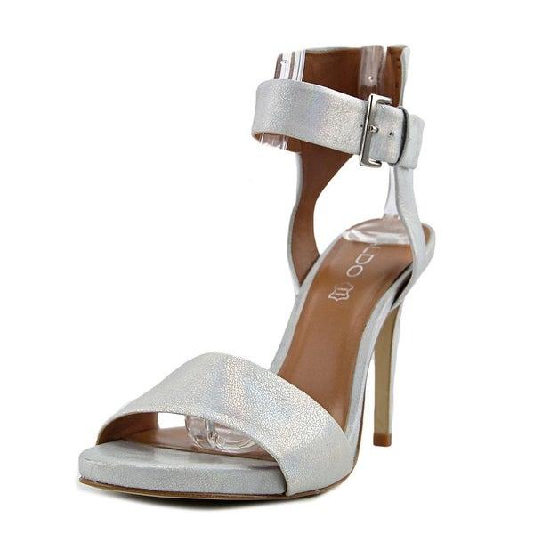 Aldo Swindler Women Open-Toe Synthetic Silver Slingback Heel