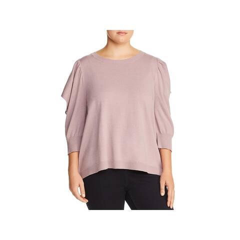 Love Scarlett Womens Pullover Sweater Flutter Sleeve Crewneck - Iris Mauve