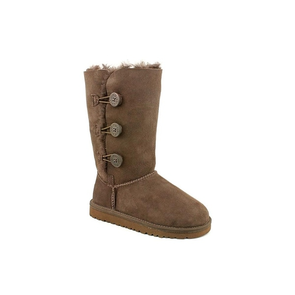 Ugg Australia Bailey Button Triplet Youth Round Toe Suede Brown Winter Boot