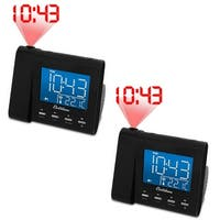 Electrohome EAAC601 Projection Alarm Clock Radio with Battery Backup & Dual Alarm- BONUS 2 Pack
