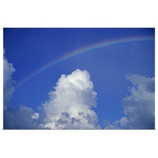 """""""Hawaii, Rainbow arching over clouds in blue sky"""" Poster Print"""