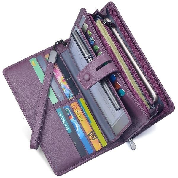 Women's RFID Leather Clutch Wallet Checkbook Holder