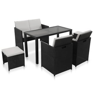 Link to vidaXL 6 Piece Outdoor Dining Set with Cushions Poly Rattan Black Chair Table Similar Items in Outdoor Dining Sets