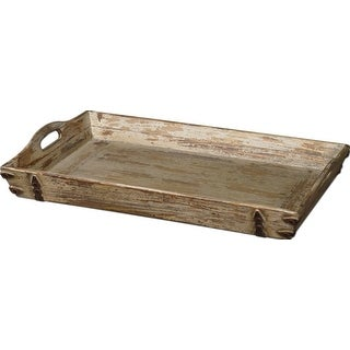 Antiqued Cream Finish Distressed Carrying Tray