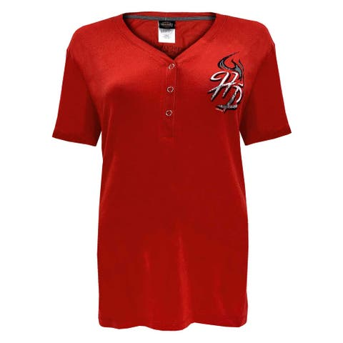 Harley-Davidson Women's Flames H-D Short Sleeve Snap Placket Silky Tee - Red