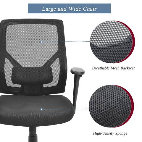 HomeOffice Mesh Chair w/ Lumbar Support and Height-adjustable armrest
