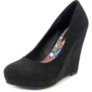 Madden Girl Valia Women  Open Toe Canvas Black Wedge Heel