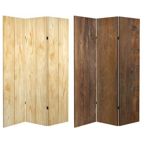 6 ft. Tall Double Sided Wood Grain Canvas Room Divider