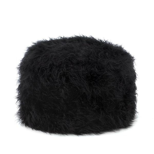 Strange Fuzzy Black Ottoman Pouf Machost Co Dining Chair Design Ideas Machostcouk