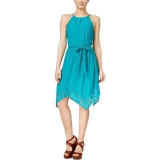 BCX Womens Juniors Casual Dress Handkerchief Hem Spaghetti Straps - L