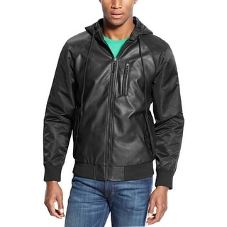 American Rag Hooded Mixed Media Faux Leather Jacket Black