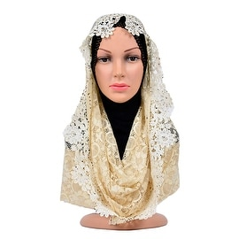 Muslim Lace Hollow Macrame Zircon Scarf Kerchief Hat baby yellow
