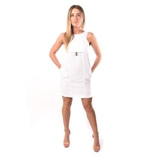 Versace Jeans Women Crepe Bark Dress White