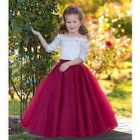 Triumph Dress Girls Ivory Burgundy Tulle Lace Lucia Flower Girl Dress