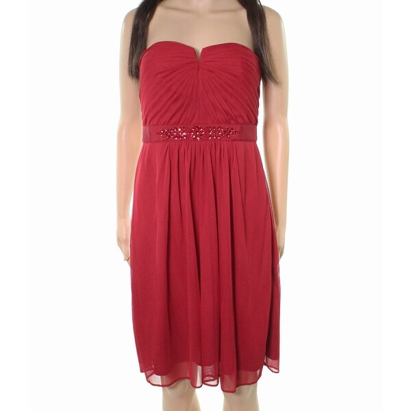 bad9f0f0503af Adrianna Papell Red Womens Size 14 Beaded Strapless Tulle Dress