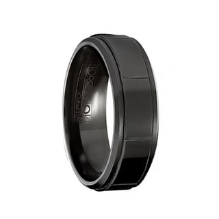 SMOKE Torque Black Cobalt Wedding Band Polished Finish Raised Center Grooved Accents Beveled Edges By Crown Ring 7 Mm