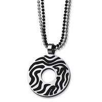 Chisel Stainless Steel Black Rubber Swirl Circle 22 Inch Double Chain Necklace (2 mm) - 22 in