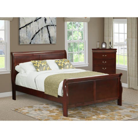 East-West Furniture LP03-QC0000 2-Piece Walnut Queen Bedroom Set-An Attractive Queen Bed-A Fantastic Chest and Frame