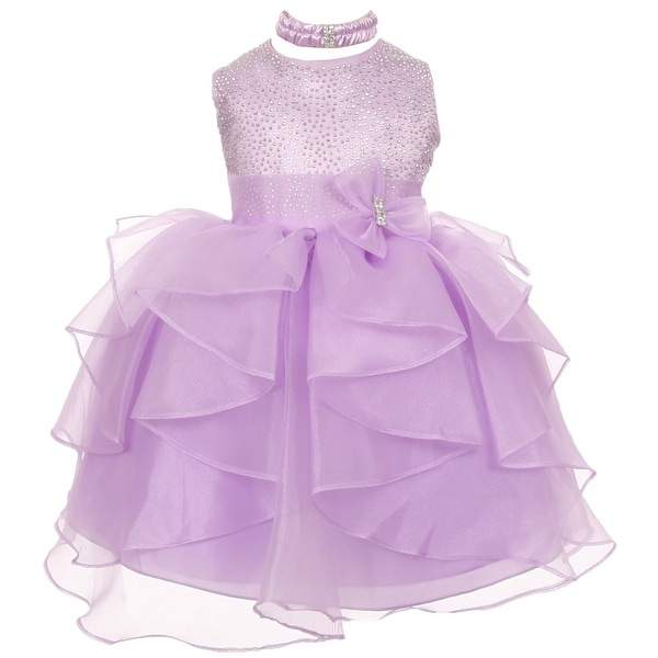 Baby Girls Lilac Organza Rhinestuds Bow Sash Flower Girl Dress 6-24M