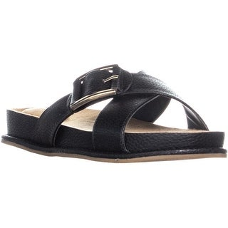 GB35 Balii Flat Slip On Criss Cross Sandals, Black - 10 us