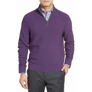 David Donahue NEW Purple Mens Size Large L 1/2 Zip Wool Sweater