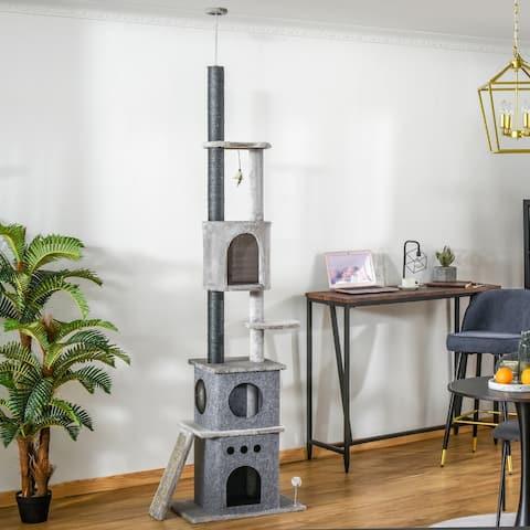 "PawHut 100"" Cat Climbing Tree Adjustable Kitty Activity Center Floor-to-Ceiling Cat Climber Toy Light Grey"