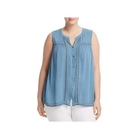 Lucky Brand Womens Plus Blouse Button-Down Embroidered