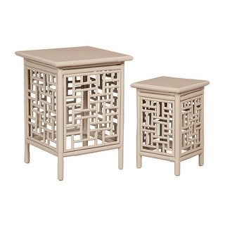 """GuildMaster 713042S  Thyme Garden 18"""" Wide Two Piece Mahogany Accent Table Set - Driftwood"""