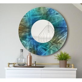 Statements2000 Blue / Teal / Brown Metal Decorative Wall-Mounted Mirror by Jon Allen - Mirror 103