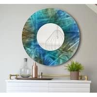 Statements2000 Blue/Teal/Brown Metal Wall Mirror Art Accent Decor by Jon Allen - Mirror 103