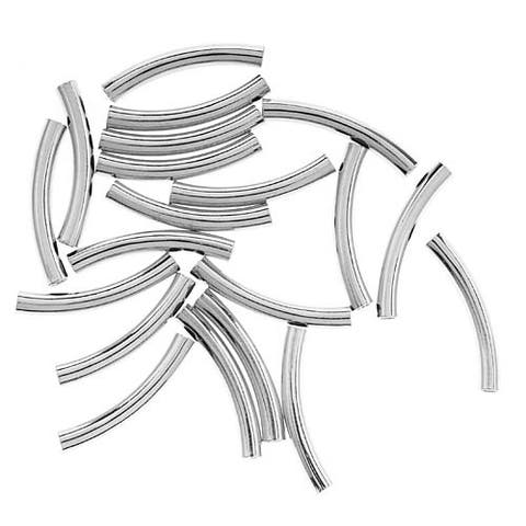 Silver Plated Curved Noodle Tube Beads 3mm x 22mm (20)