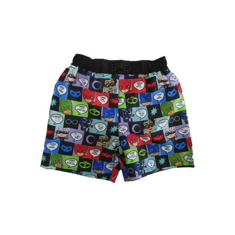 Disney Little Boys Black Pj Mask Swim Shorts
