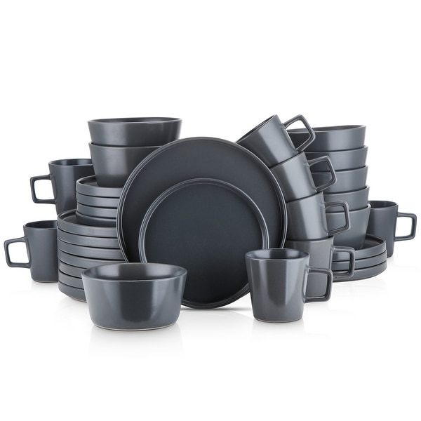 Stone Lain 32-piece Grey Stoneware Dinnerware Set (Service for 8). Opens flyout.