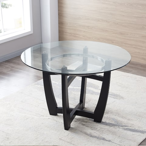 """48"""" Inch Round Glass Top Dining Table"""