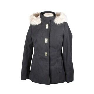 Maralyn Me Juniors Black Hooded Faux Fur-Trim Coat L