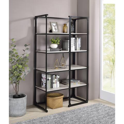 Furniture of America Avila Matte Black & Light Grey 4-Tier Bookshelf