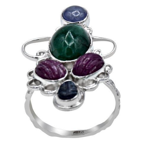 Emerald, Ruby, Sapphire, Tanzanite Sterling Silver Round Cocktail Ring by Orchid Jewelry