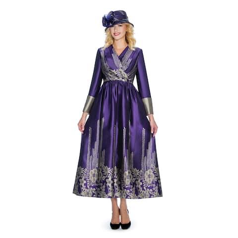 Giovanna Collection Women's Jacquard on Virtual Silk Pleated Long Dress