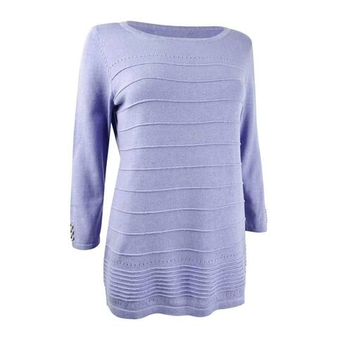 Karen Scott Women's Ribbed 3/4-Sleeve Sweater