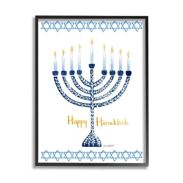 Stupell Industries Happy Hanukkah Winter Holiday Festive Menorah Framed Wall Art - Blue. Opens flyout.