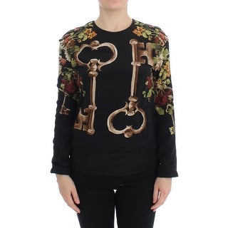Dolce & Gabbana Black Key Floral Print Silk Blouse Top - it36-xs