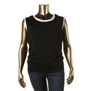 Jones New York Womens Plus Contrast Trim Sleeveless Pullover Top - 1X