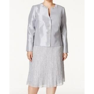 Kasper NEW Silver Womens Size 16W Plus 3-Button Textured Skirt Suit Set|https://ak1.ostkcdn.com/images/products/is/images/direct/0d9955a08f5252aba4b2b826a02f6fb6798917e4/Kasper-NEW-Silver-Womens-Size-16W-Plus-3-Button-Textured-Skirt-Suit-Set.jpg?impolicy=medium
