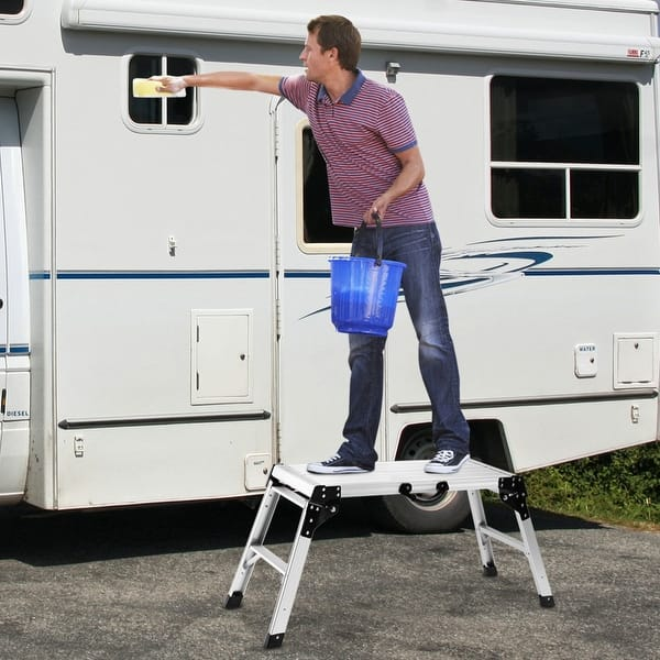 Aluminum Folding Work Stool Bench Drywall Portable Platform Ladder Step