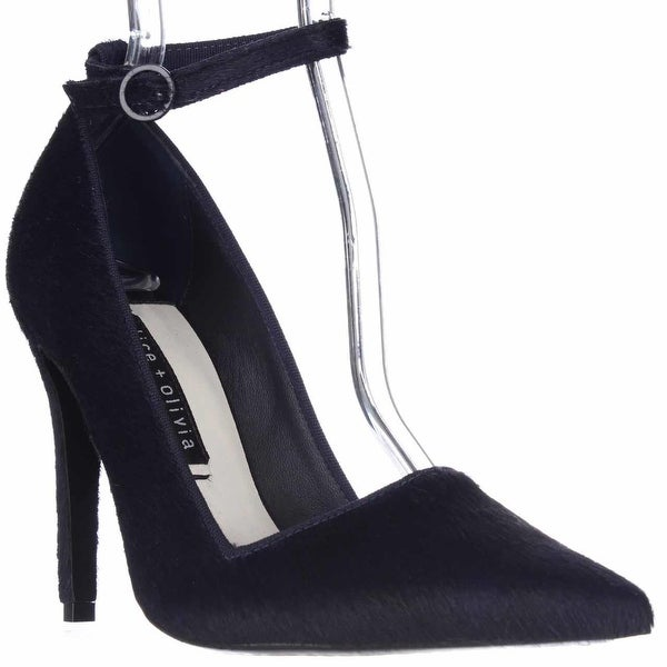 Alice and Olivia Makayla Pointed Toe Ankle Strap Heels, Navy - 8.5 us / 38.5 eu