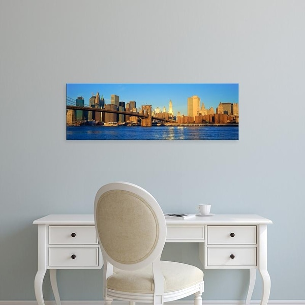 Easy Art Prints Panoramic Image 'Sunset view of Manhattan, Queens over East River, New York City, NY' Canvas Art