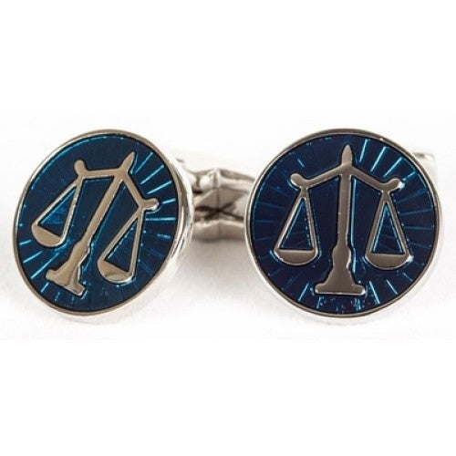 Scales Of Justice Attorney Lawyer Cufflinks In Blue