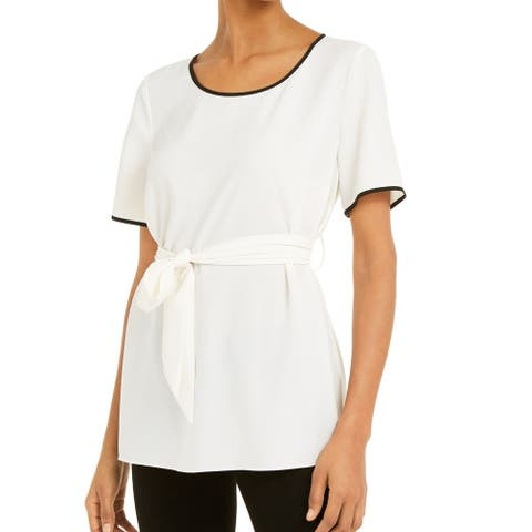 Alfani Womens Blouse White Ivory Size XL Contrast Piping Tie-Waist